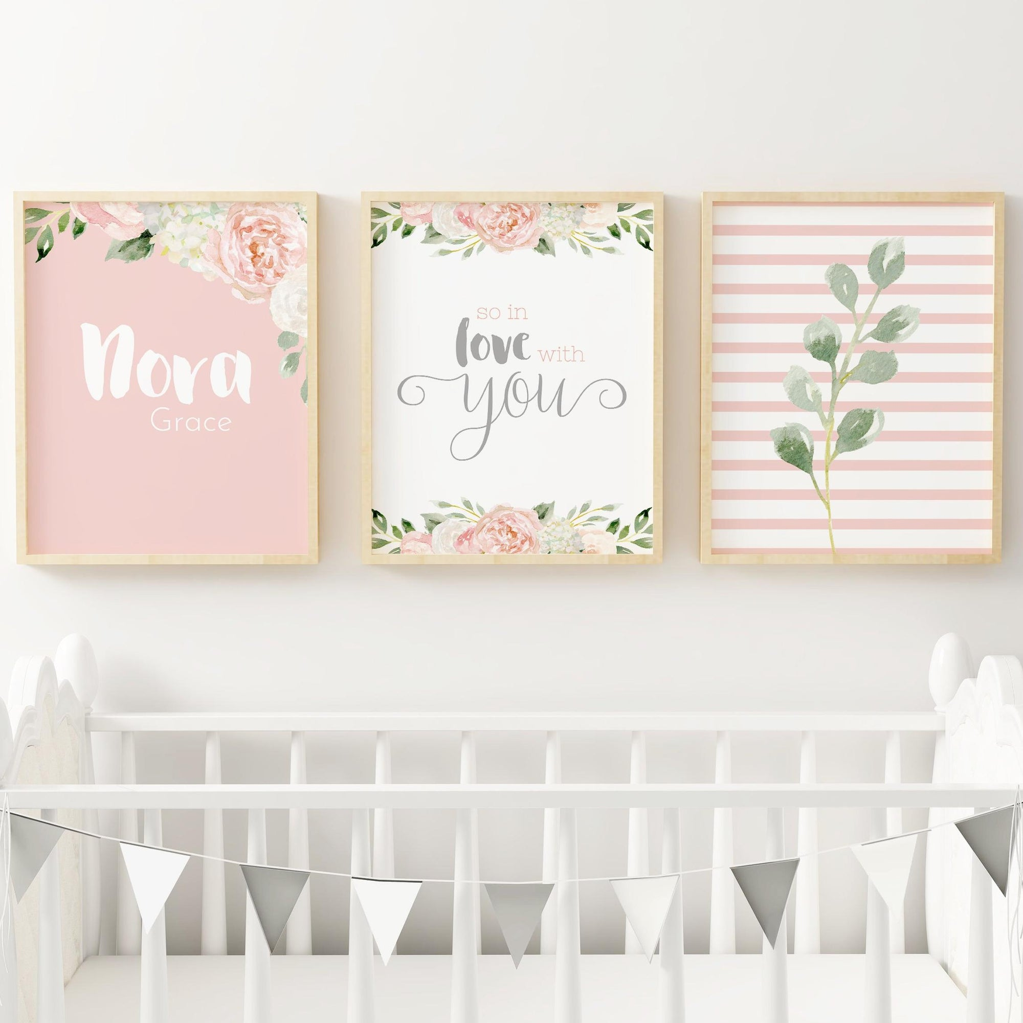 Dark Blush and Grey #3 // Set of 3 Prints Nursery Wall Decor for a Girl TheGracefulGoose