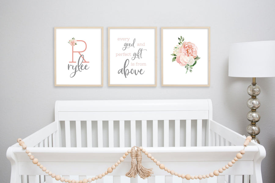 Dark Blush and Grey #4 // Set of 3 Prints | Nursery Prints | The Graceful Goose