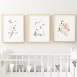 Dark Blush and Grey Nursery Print Set #4
