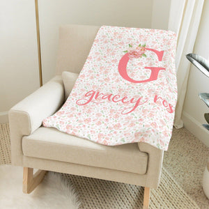 Dark Blush Floral Blanket | Baby Blankets | The Graceful Goose