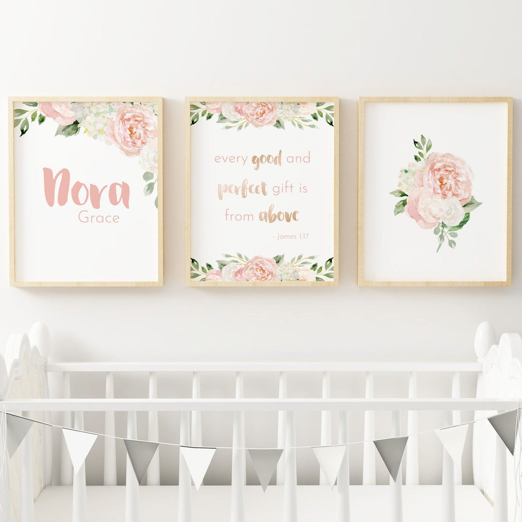 Dark Blush Nursery Print Set #3