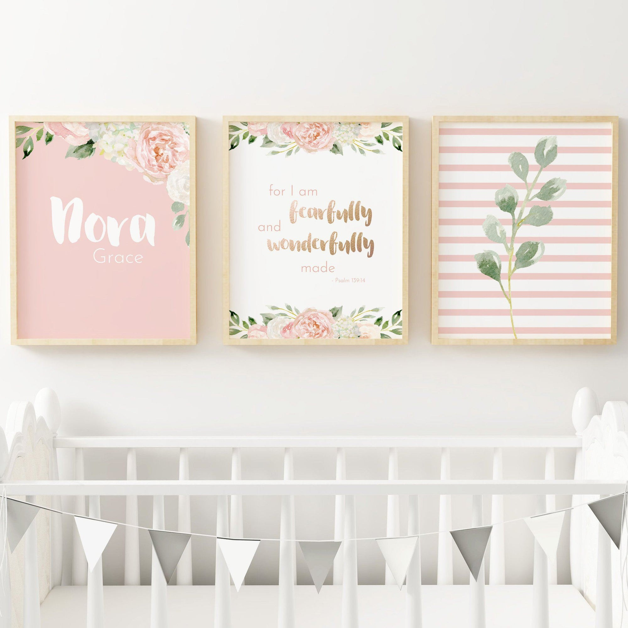 Dark Blush #4 // Set of 3 Prints | Nursery Wall Decor for a Girl | The Graceful Goose