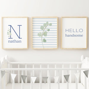 Dusty Blue Modern Stripes // Set of 3 Prints | Nursery Prints | The Graceful Goose