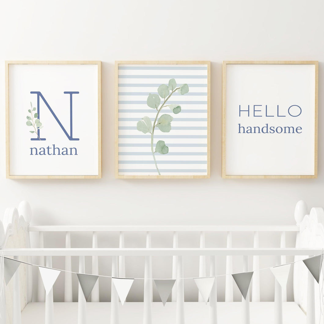 Dusty Blue Modern Stripes Nursery Print Set #1