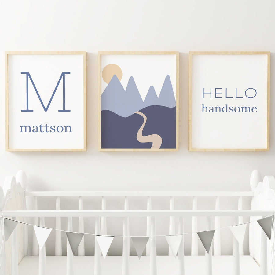 Dusty Blue Set #2 // Set of 3 Prints | Nursery Prints | The Graceful Goose