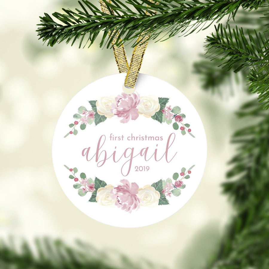 Dusty Rose First Christmas Ornament | Christmas Ornaments | The Graceful Goose