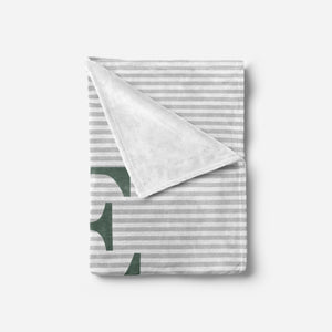 Green and Grey Striped Baby Blanket | Baby Blankets | The Graceful Goose