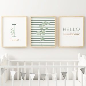 Green Modern Stripes Nursery Print Set #1