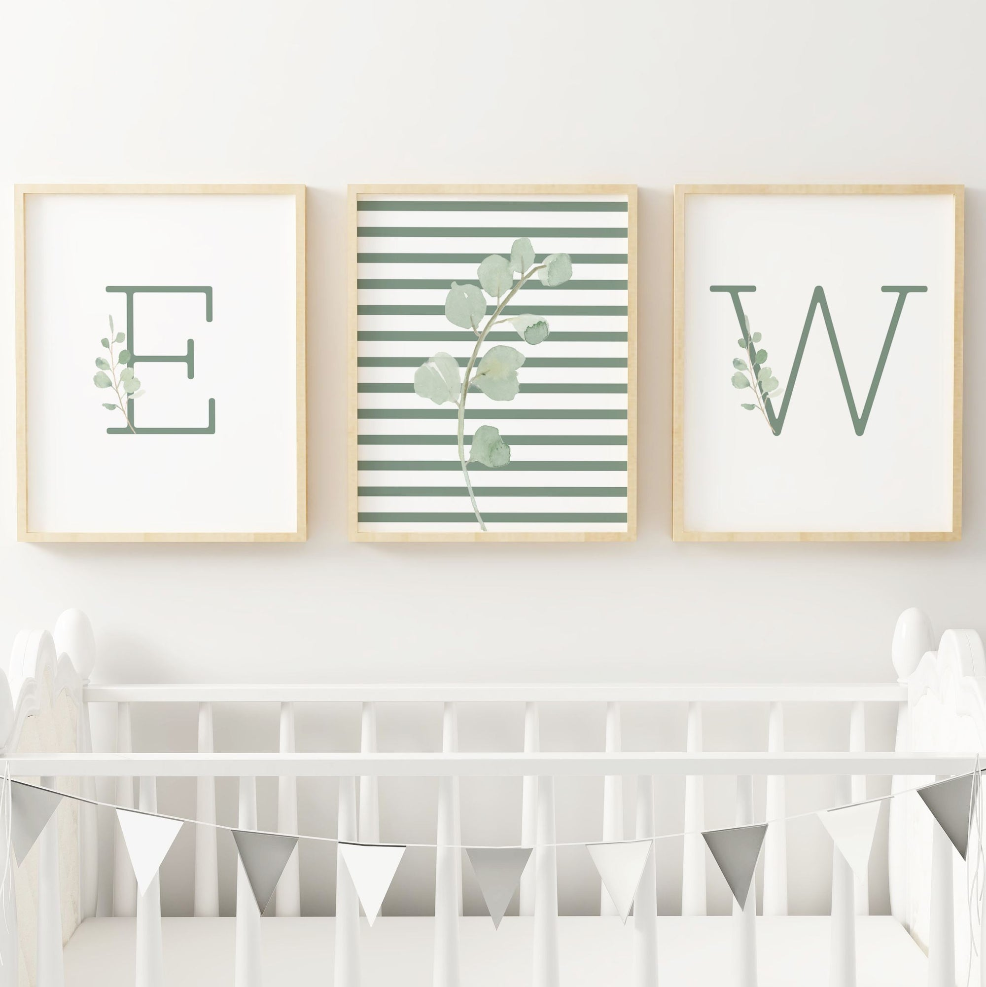 Green Modern Stripes - Twins // Set of 3 Prints