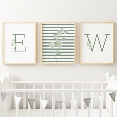 Green Modern Stripes Nursery Print Set #2