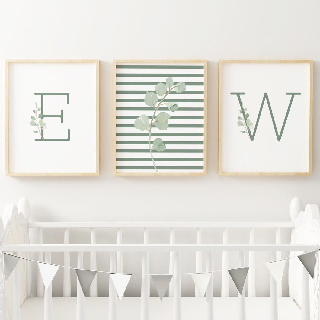 Green Modern Stripes Nursery Print Set #2 | Nursery Prints | The Graceful Goose