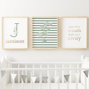 Green Modern Stripes // Set of 3 Prints