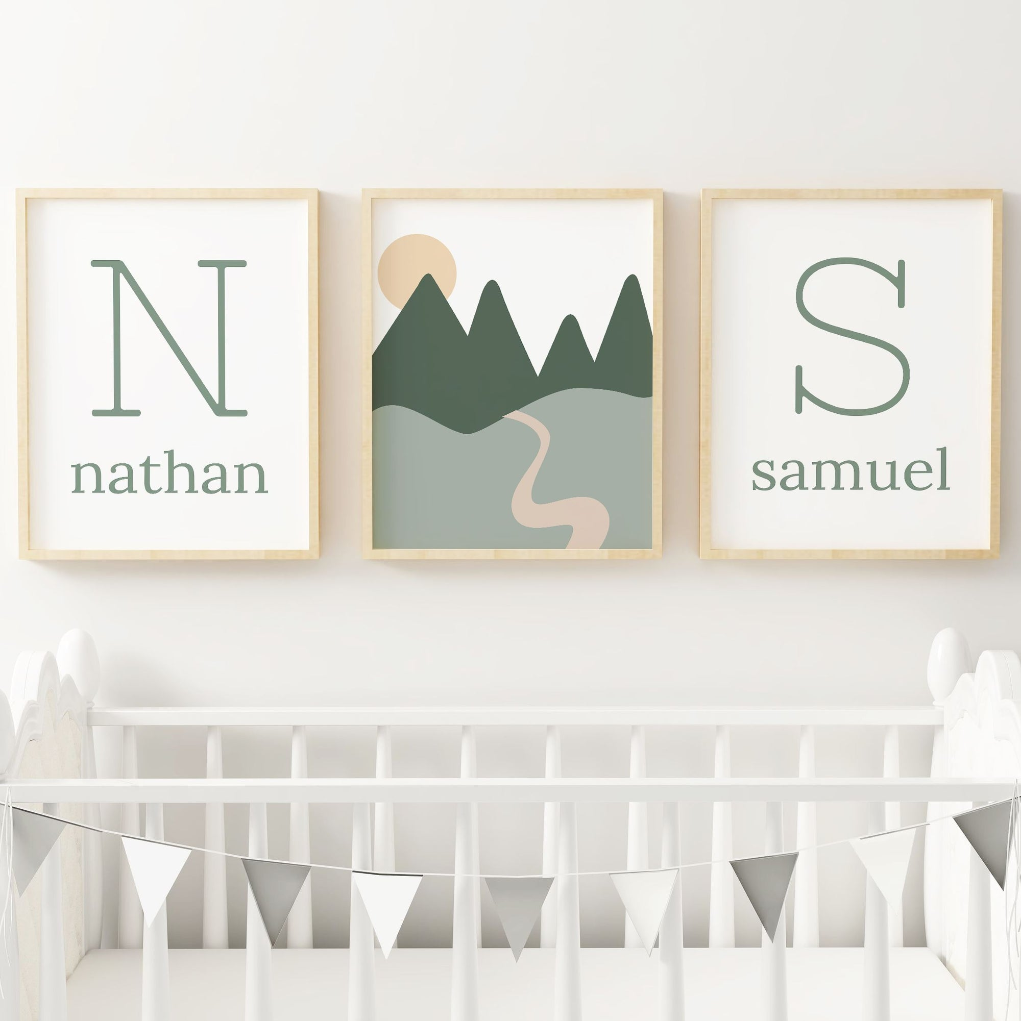 Green Twins Set // Set of 3 Prints