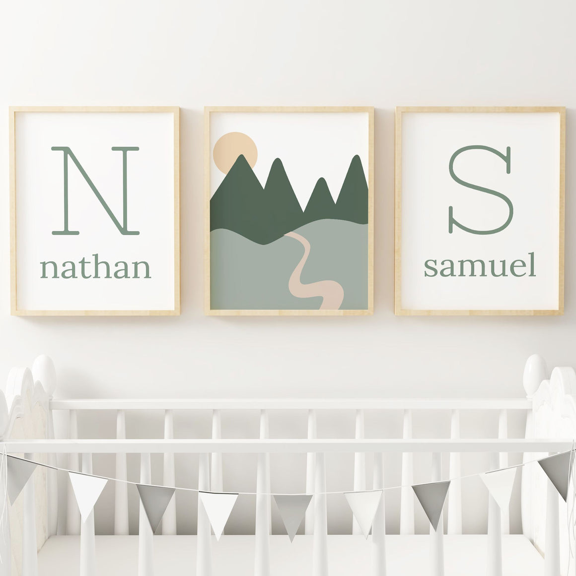 Green Twins Set // Set of 3 Prints | Nursery Prints | The Graceful Goose