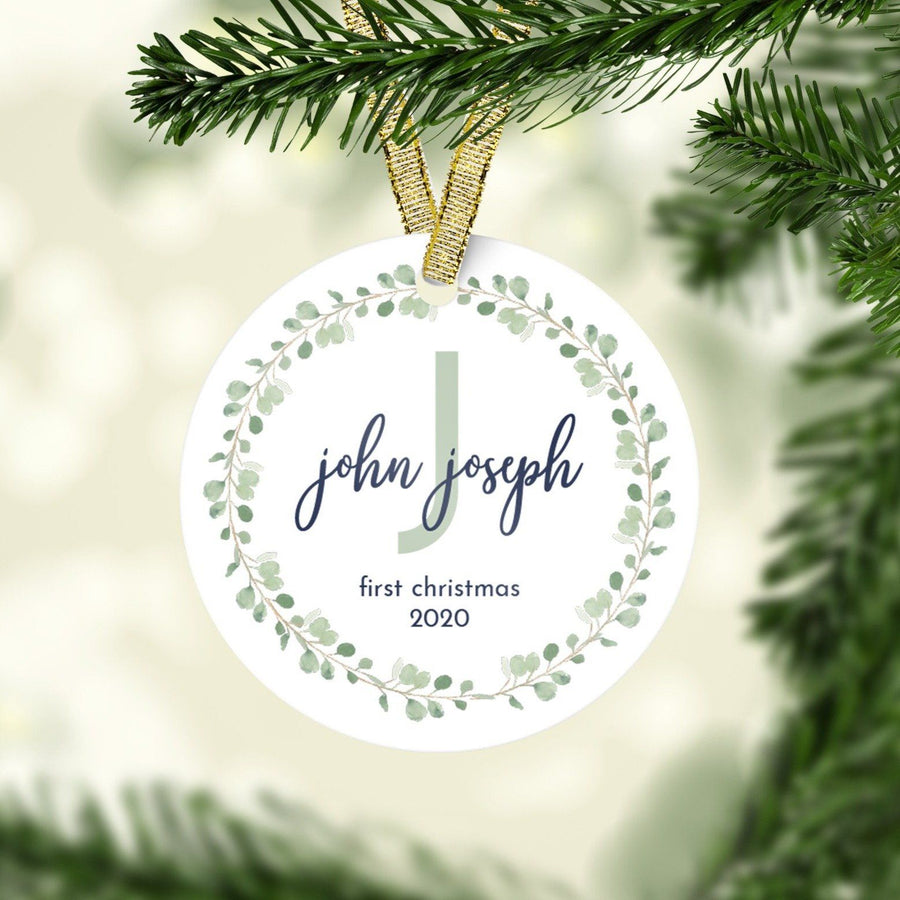 Green Wreath First Christmas Ornament | Christmas Ornaments | The Graceful Goose