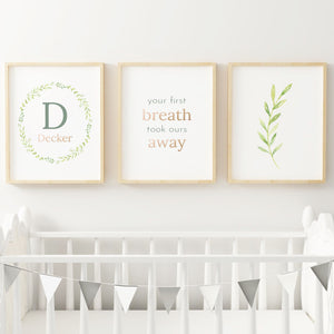 Green Wreath Nursery Print Set #1