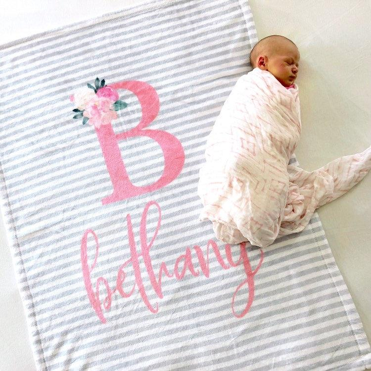 7b3f60cde5377 Grey and Pink Striped Baby Blanket