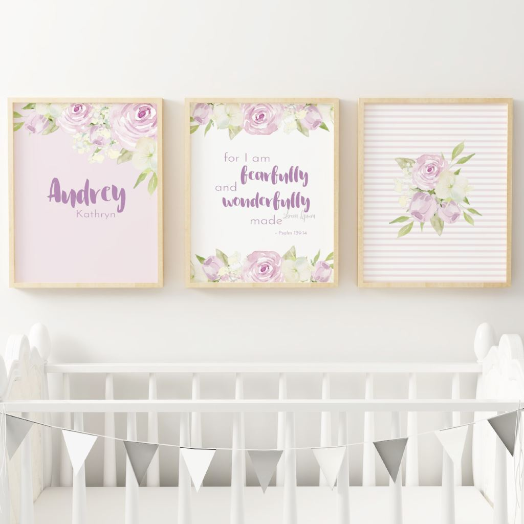 Lavender #2 // Set of 3 Prints | Nursery Prints | The Graceful Goose