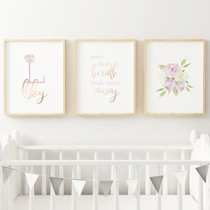 Lavender #5 // Set of 3 Prints | Nursery Prints | The Graceful Goose