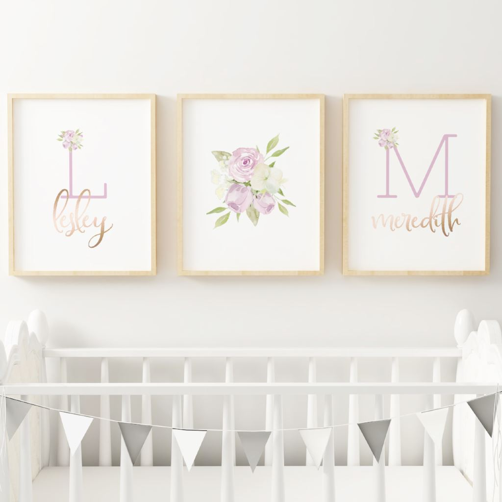 Lavender - Twins // Set of 3 Prints Nursery Prints TheGracefulGoose