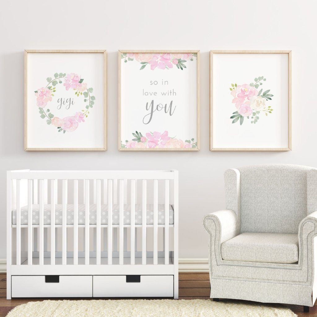 Light Pink and Grey #1 // Set of 3 Prints | Nursery Prints | The Graceful Goose
