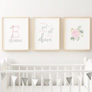 Light Pink and Grey #2 // Set of 3 Prints