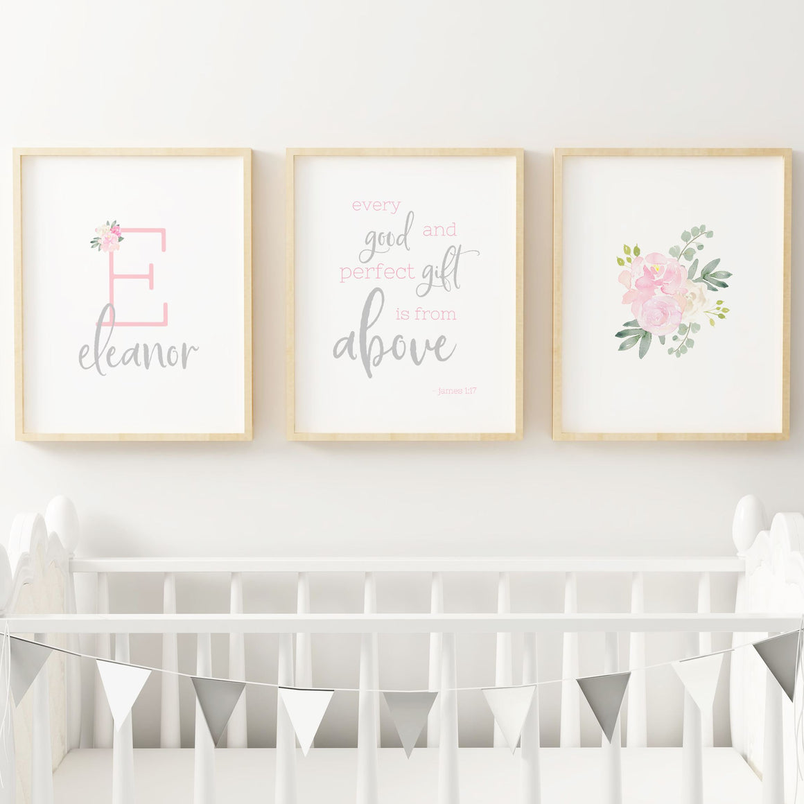 Light Pink and Grey #2 // Set of 3 Prints | Nursery Prints | The Graceful Goose