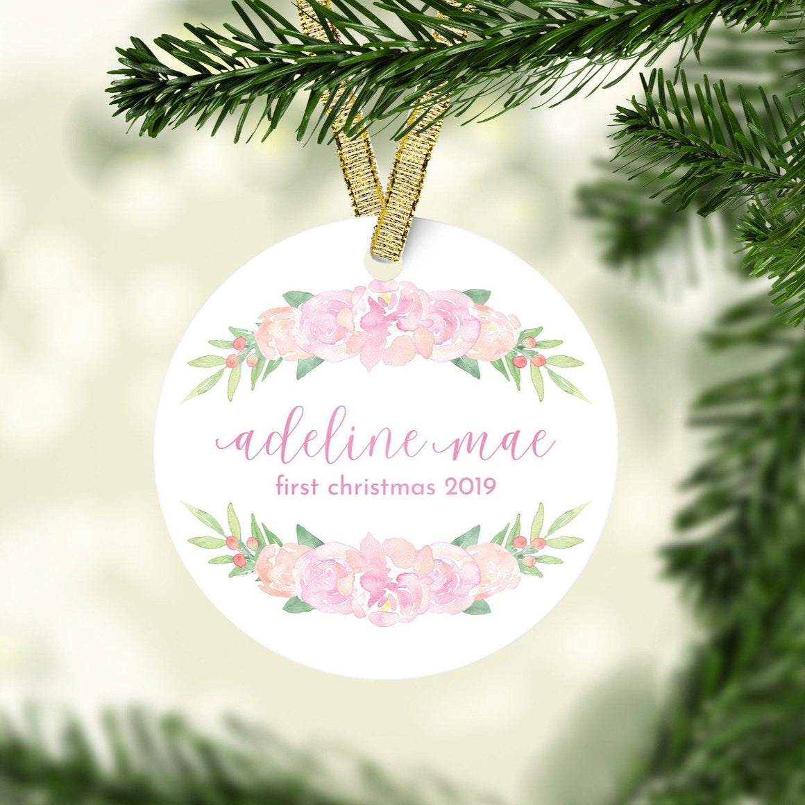 Light Pink First Christmas Ornament | Christmas Ornaments | The Graceful Goose
