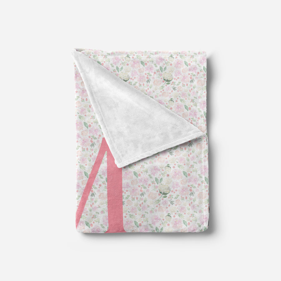 Light Pink Floral Baby Blanket | Minky Blanket | The Graceful Goose