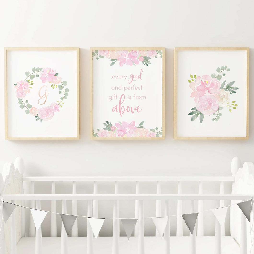 Light Pink Nursery Print Set #1 | Nursery Prints | The Graceful Goose