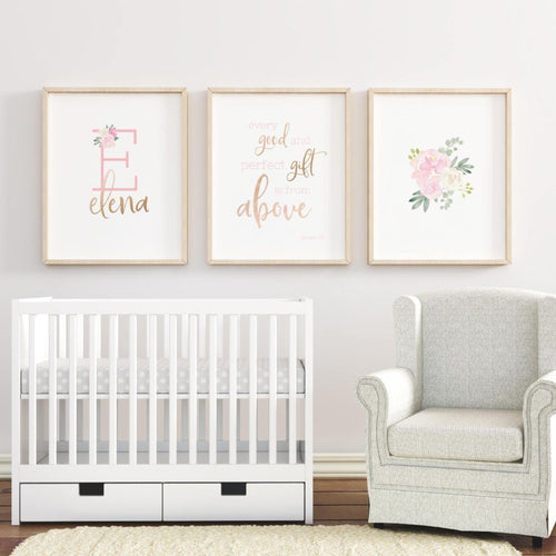 Personalized Gold and Pink Girl Nursery Art, Newborn Girl Nursery Prints, Pink Floral Wall Art, Baby Girl Floral Nursery Decor