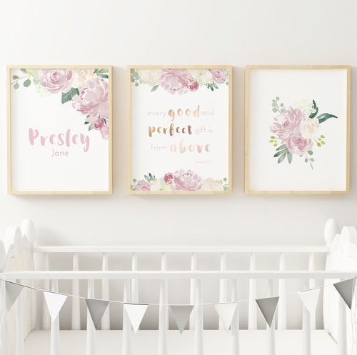 Mauve Nursery Print Set #1