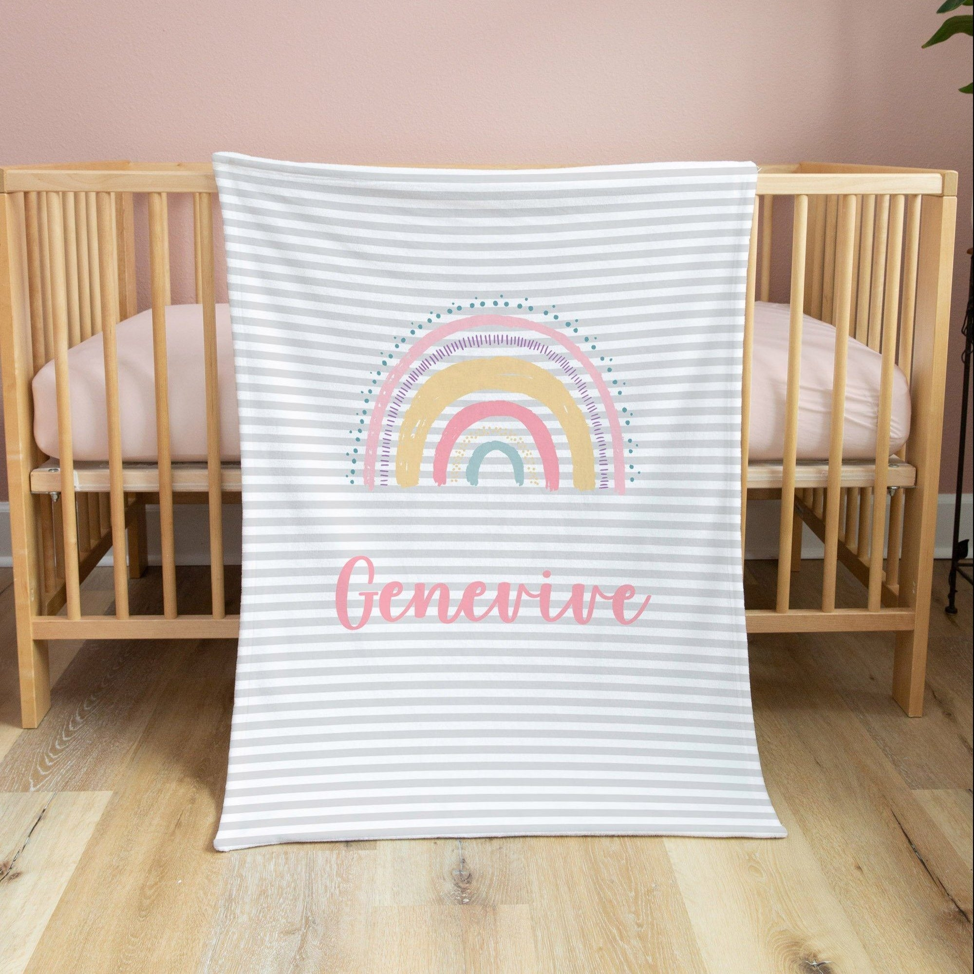 Multi Colored Rainbow Blanket Baby Blankets TheGracefulGoose