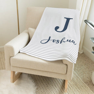 Navy and Grey Blanket - Cursive Font Baby Blankets TheGracefulGoose