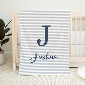 Navy and Grey Blanket - Cursive Font Personalized Baby Blanket With Name TheGracefulGoose