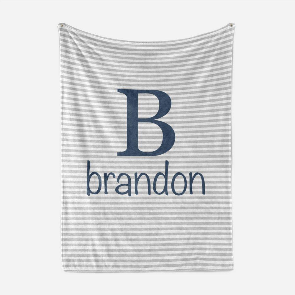 Navy and Grey Striped Baby Blanket | Baby Blankets | The Graceful Goose