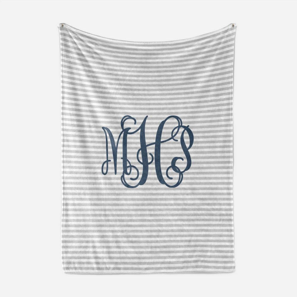 Navy and Grey Striped Monogram Blanket Baby Blankets TheGracefulGoose