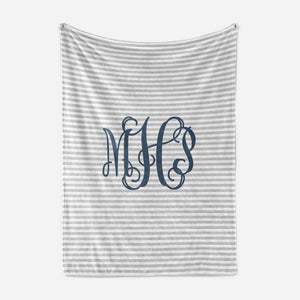 Navy and Grey Striped Monogram Baby Blanket | Baby Blankets | The Graceful Goose