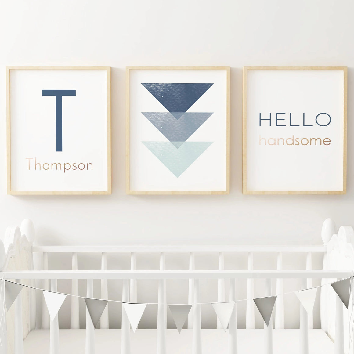 Navy Blue Geometric // Set of 3 Prints