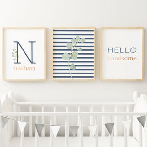 Navy Modern Stripes Nursery Print Set #1