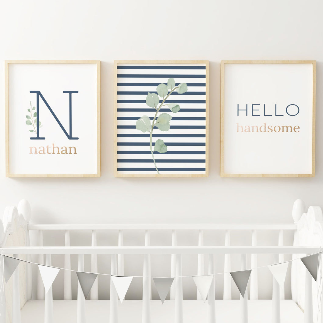 Navy Modern Stripes Nursery Print Set #1 | Nursery Prints | The Graceful Goose