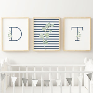 Navy Modern Stripes - Twins // Set of 3 Prints
