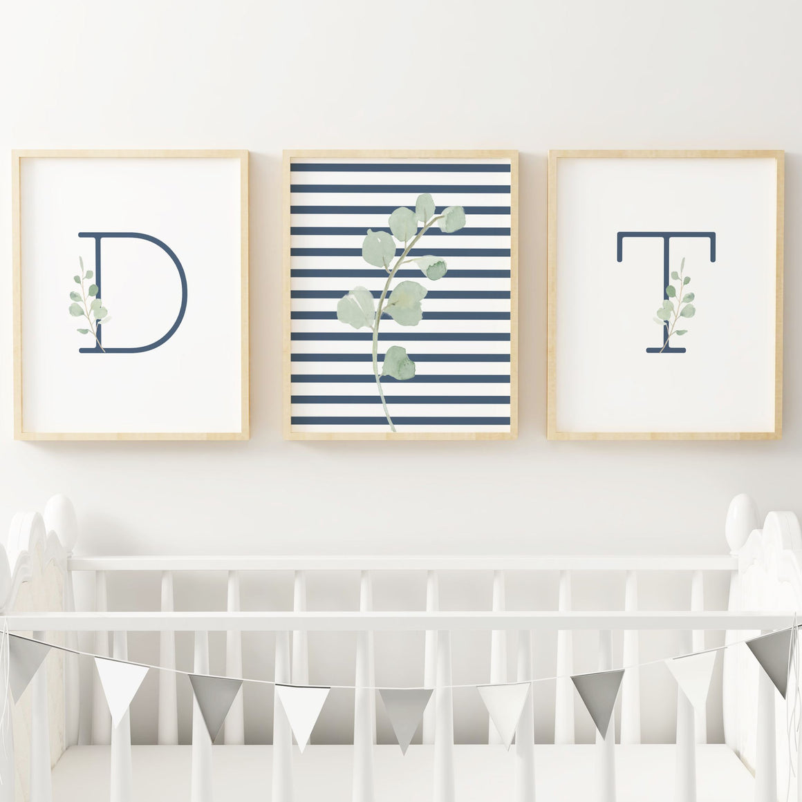 Navy Modern Stripes - Twins // Set of 3 Prints | Nursery Prints | The Graceful Goose