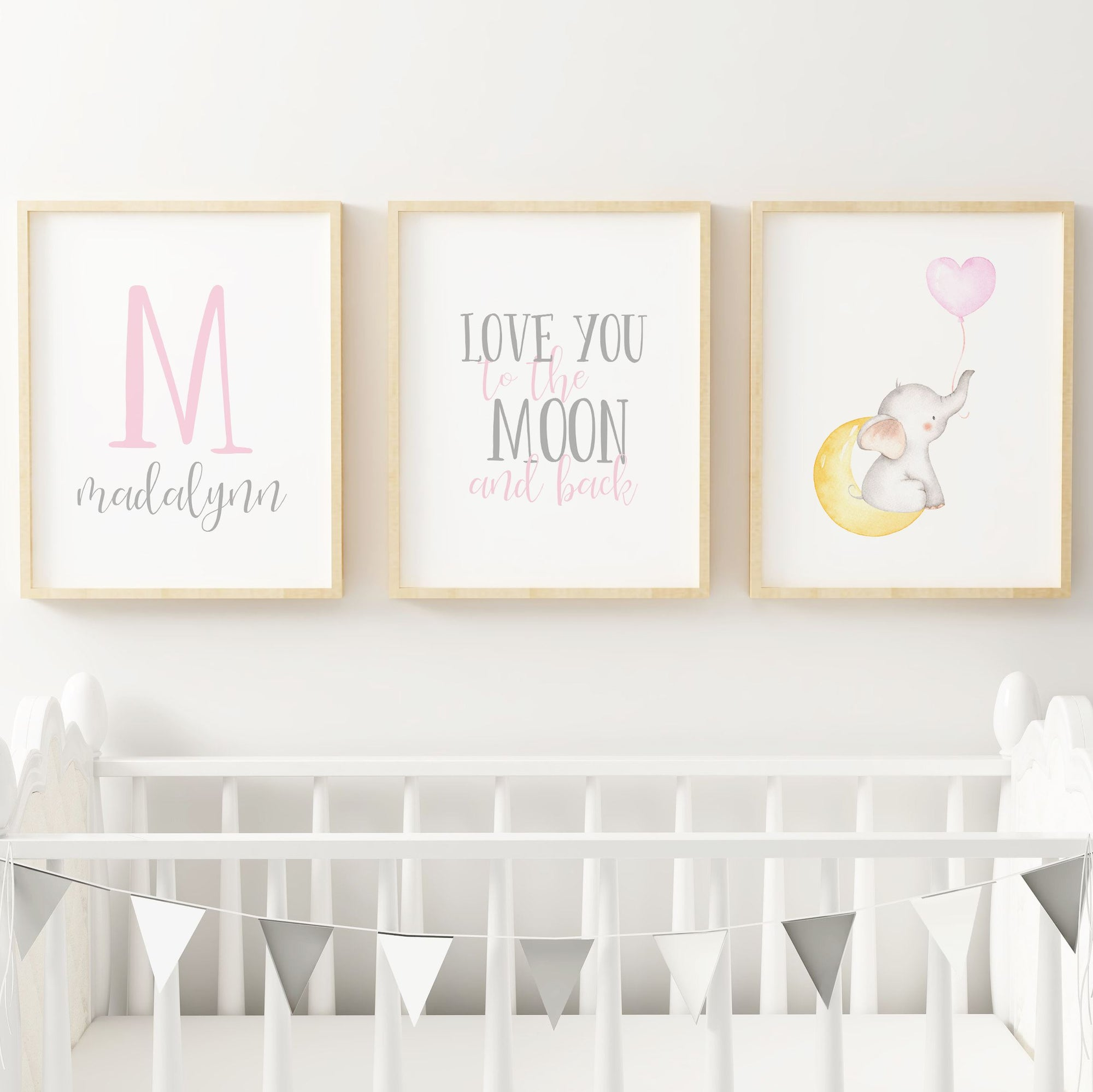 Pink and Grey Elephant // Set of 3 Prints Nursery Prints TheGracefulGoose