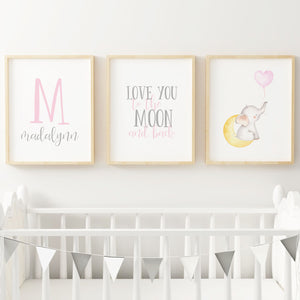 Pink and Grey Elephant // Set of 3 Prints
