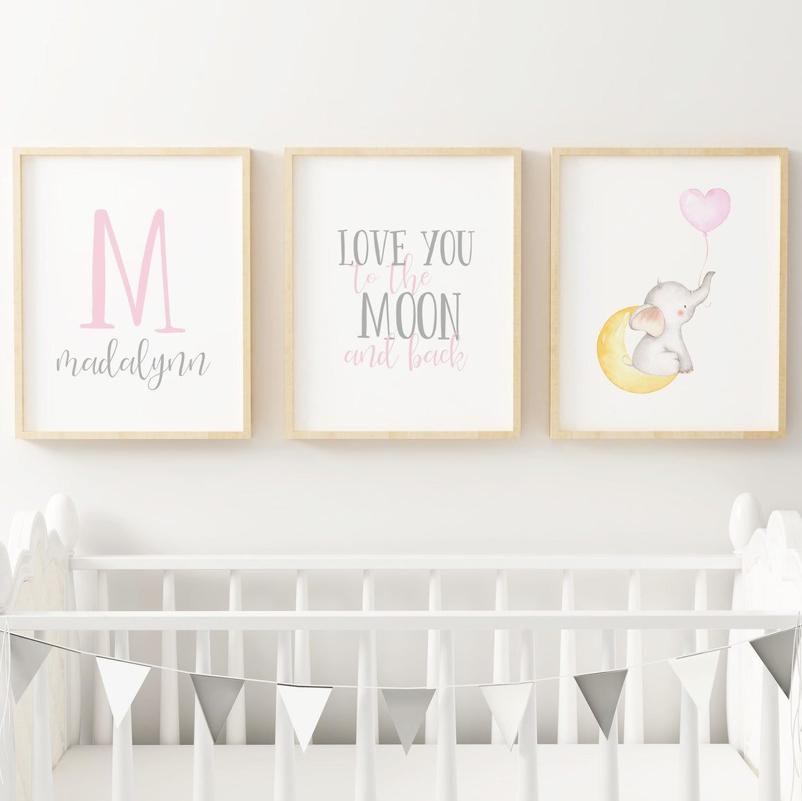 Pink and Grey Elephant // Set of 3 Prints | Nursery Prints | The Graceful Goose