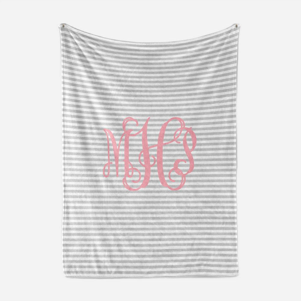 Custom Baby Girl Gift Monogram Baby Blanket, Baby Shower Gift, Personalized Baby Blanket, Minky Blanket, Newborn Girl Pink and Gray Blanket