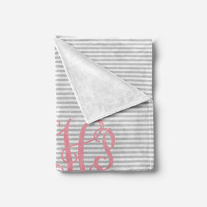 Pink and Grey Monogram Baby Blanket | Baby Blankets | The Graceful Goose