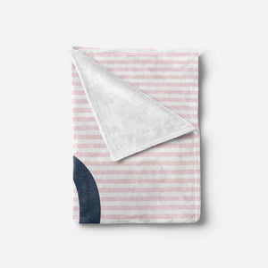 Pink and Navy Personalize Newborn Girl Blanket, Personalized Baby Shower Gift, Pink and Navy Baby Gift, Minky Blanket, Monogram Baby Girl