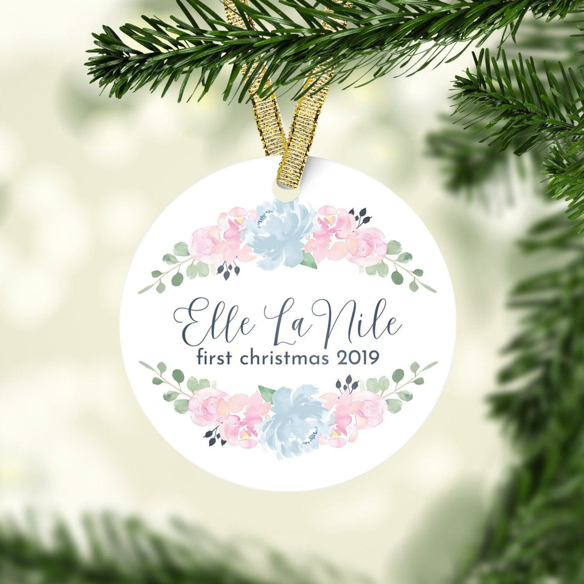 Pink and Navy First Christmas Ornament | Christmas Ornaments | The Graceful Goose
